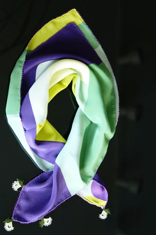 GiGi Collection silk neckscarf w/ lace - Green&purple&white&yellow with white&green lace