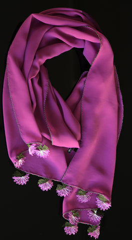 GiGi Collection silk scarf with lace - Dark magenta with white & magenta & white