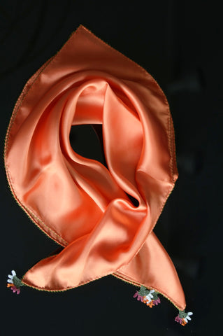 GiGi Collection silk neckscarf w/ lace - tangerine with tangerine&white&green lace