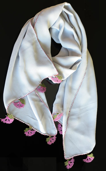 GiGi Collection silk scarf with lace - Light grey with purple lace
