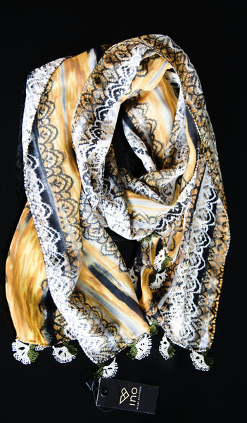 GiGi Collection silk w/ lace - Brown&black&yellow&white with white lace