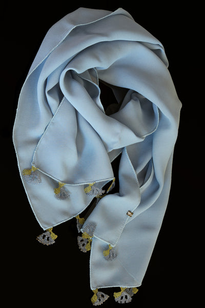 GiGi Collection Oblong Silk Scarf - Lightsteel Blue with Blue & Green lace