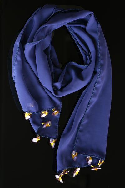 GiGi Collection Oblong Silk Scarf - Darkslate Blue  with Lavender & Yellow lace flowerss
