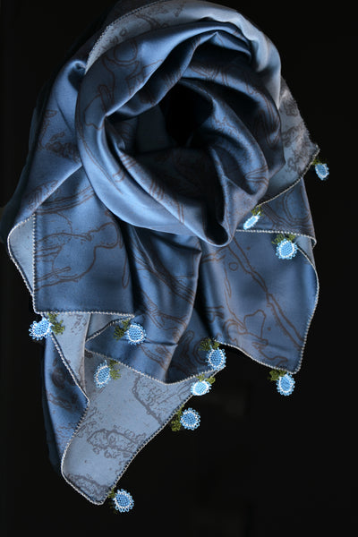 GiGi Collection Oblong Silk Scarf - Blue & Black with  Blue & White & Green lace