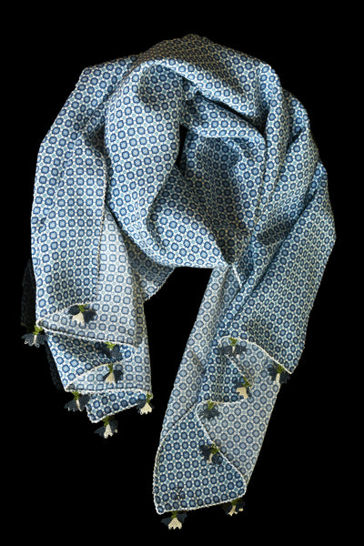 GiGi Collection Oblong Silk Scarf - White & Navy & Blue with  White & Navy & Green lace