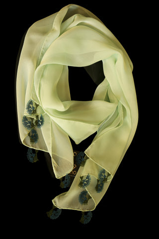 GiGi Collection Oblong Silk Scarf - Honeydew with Navy & Dark Green lace