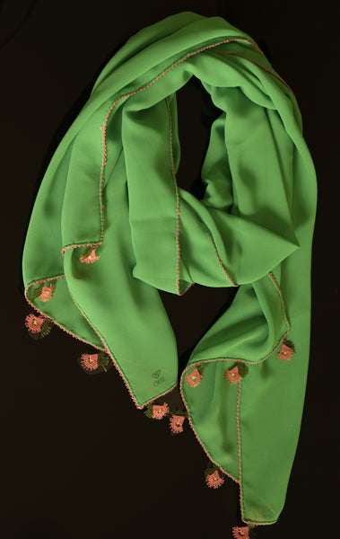 GiGi Collection Oblong Silk Scarf - Yellow Green with Coral & Green lace