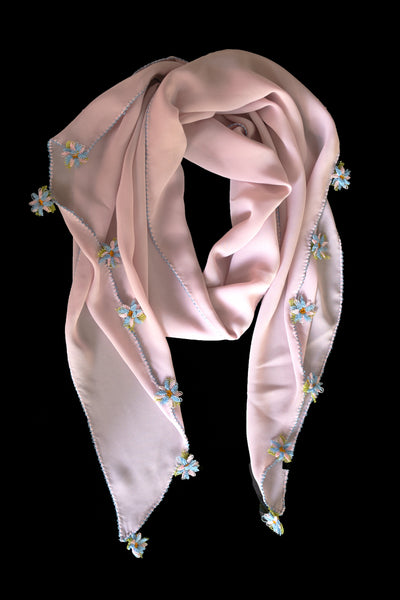 GiGi Collection Oblong Silk Scarf - Light Thistle Pink with Blue & Pink & Green lace flowers