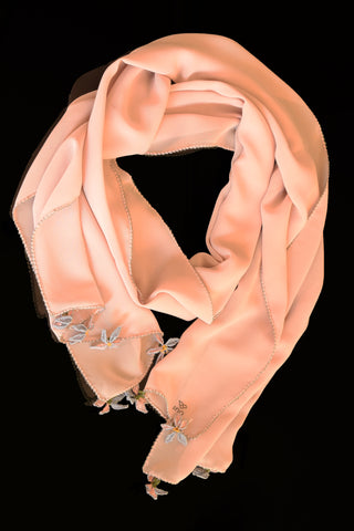 GiGi Collection Oblong Silk Scarf - Light Pink, blue edges, with Pink & Blue & Green & Yellow lace flowers