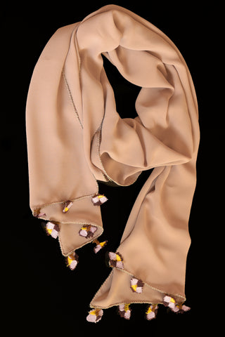 GiGi Collection Oblong Silk Scarf - Desert Sand with Maroon & Lavender & Yellow lace