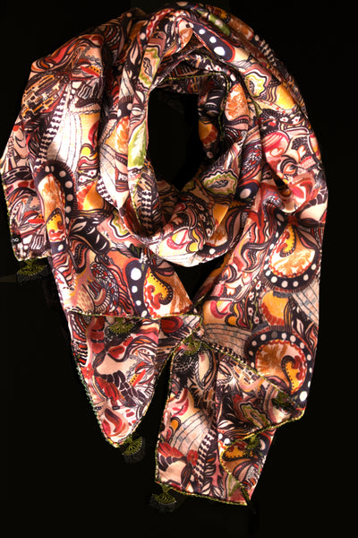 GiGi Collection Oblong Silk Scarf -  Red & Brown & Yellow & Black & Green with Green & Black lace