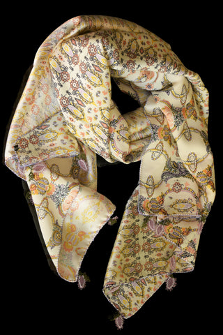 GiGi Collection Oblong Silk Scarf -  Cream & Lavender & Yellow & Peach & Black  with Lavender & Green lace