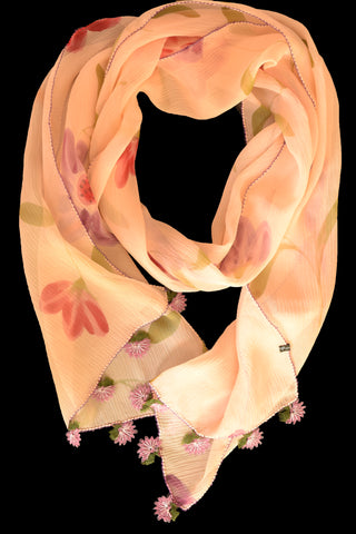 GiGi Collection Oblong Silk Scarf -  Light Peach & Lavender & Orangered & Peach & Green & Bordeaux with Lavender & Green lace