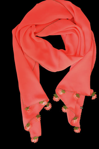 GiGi Collection Oblong Silk Scarf -  Coral with Coral & White & Green lace