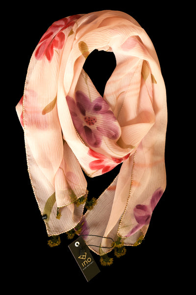 GiGi Collection Oblong Silk Scarf -  Light Peach & Lavender & Orangered & Peach & Green & Bordeaux with Olive Green & Green lace