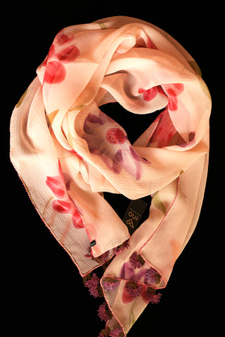 GiGi Collection Oblong Silk Scarf -  Light Peach & Lavender & Orangered & Peach & Green & Bordeaux with Bordeaux & Green lace