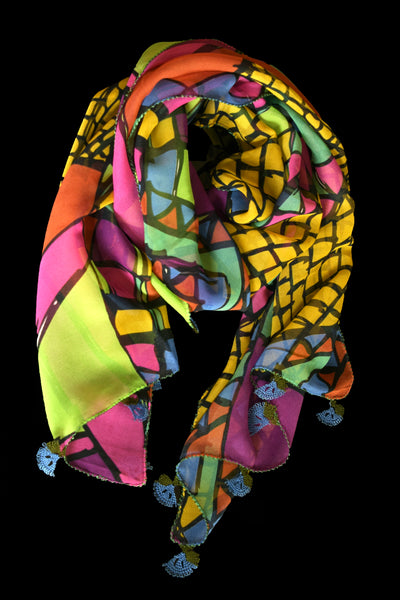 GiGi Collection Oblong Silk Scarf -  Yellow & Magenta & Orange & Blue & Green & Black with Blue & Green lace