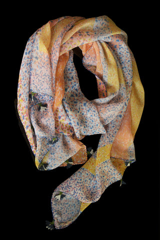 GiGi Collection Oblong Silk Scarf -  Yellow & Blue & Orange & Navy with Navy & White & Green lace