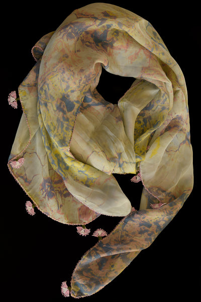 GiGi Collection Oblong Silk Scarf -  Cream & Pale Blue & Yellow & Sand Pink with Pink & White & Green lace