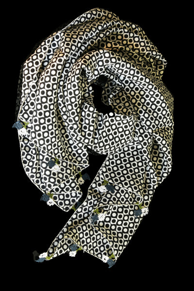 GiGi Collection Oblong Silk Scarf - White & Black dots  with White & Green lace