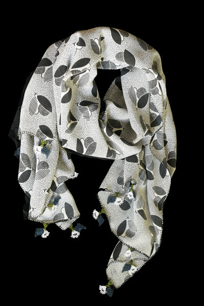 GiGi Collection Oblong Silk Scarf - Black & White abstract bees with White & Blue & Green lace