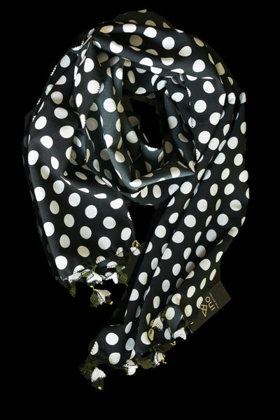 GiGi Collection Oblong Silk Scarf - Black & White dots with White & Green lace