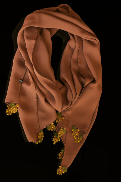GiGi Collection Oblong Silk Scarf - Sienna  Brown with  Brown & Green lace