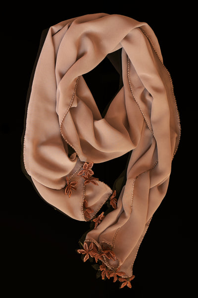 GiGi Collection Oblong Silk Scarf - Milk Chocolate  Brown with  Dark Brown & Green lace flowers
