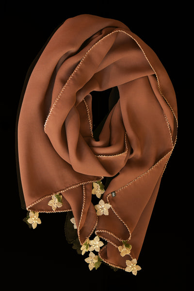 GiGi Collection Oblong Silk Scarf - Sienna  Brown with  Wheat Brown & Green lace flowers