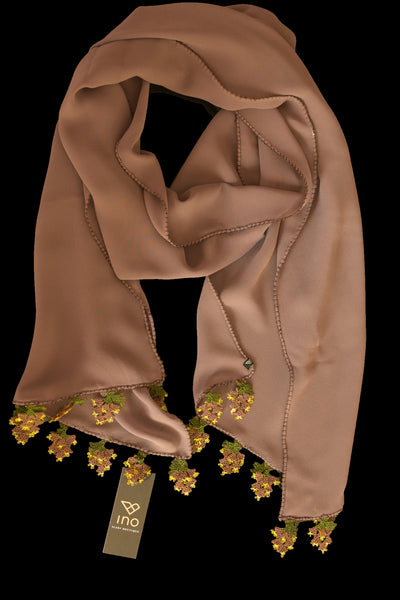 GiGi Collection Oblong Silk Scarf - Milk Chocolate  Brown with  Dark Brown & Green & Yellow lace