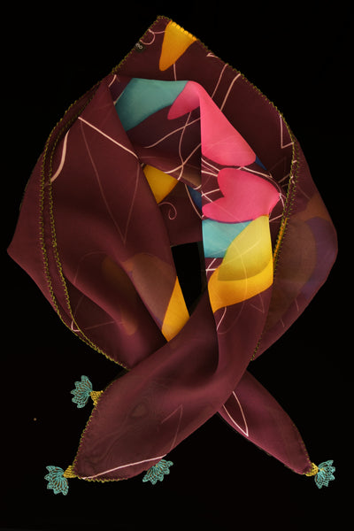 GiGi Collection Silk Neck Scarf  - Maroon & Yellow & Pink & Turquoise with Turquoise and Green lace