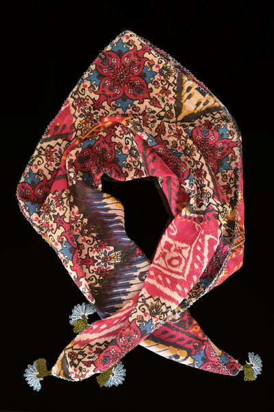 GiGi Collection Silk Neck Scarf  - Red & Yellow & Blue & Green Ikat with Blue & Green lace