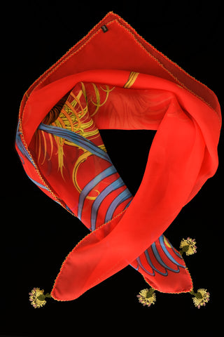 GiGi Collection Silk Neck Scarf  - Red & Royal Blue & Yellow with Yellow & Green lace