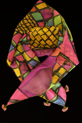 GiGi Collection Silk Neck Scarf  - Yellow & Magenta & Orange & Blue & Green & Black with Pink & Green lace