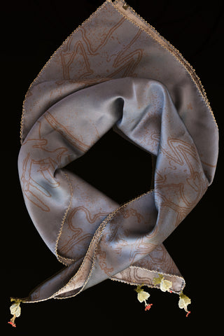 GiGi Collection Silk Neck Scarf  - Blue & Black with White & Green & Red lace