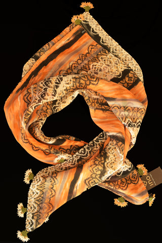 GiGi Collection Silk Neck Scarf  - Dark Orange & Black & Cream Ikat Pattern with Cream & Dark Orange & Green lace