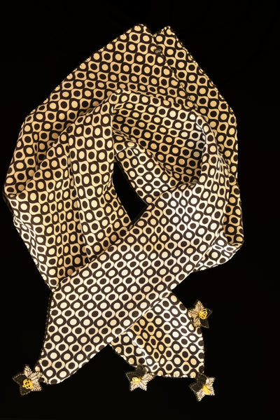 GiGi Collection Silk Neck Scarf  - White & Black dots with Black & White & Yellow lace flowers