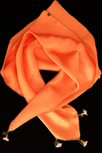 GiGi Collection Silk Neck Scarf - Orange with Orange and Green lace