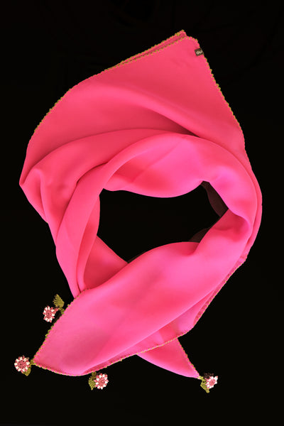 GiGi Collection Silk Neck Scarf - Deep Pink with Deep Pink, White and Green lace