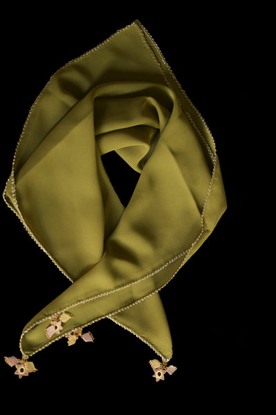 GiGi Collection Silk Neck Scarf - Forest Green with Cream & Dark Cream lace
