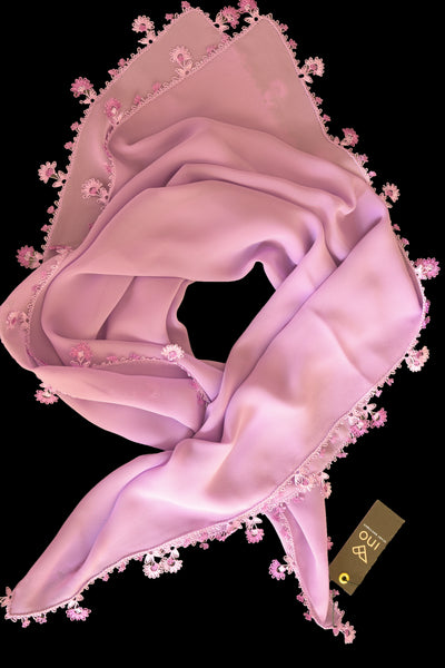 GiGi Collection Silk Neck Scarf  - Lavender  with Lavender  & White lace