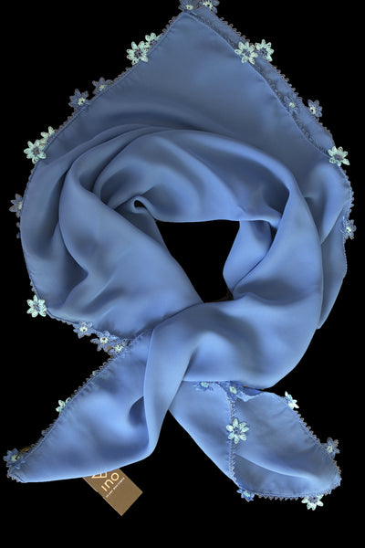 GiGi Collection Silk Neck Scarf  - Cornflower Blue  with Cornflower Blue & Powder Blue & White lace flowers