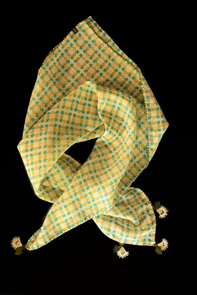 GiGi Collection Silk Neck Scarf  - Yellow & Green & Cream with White & Green lace