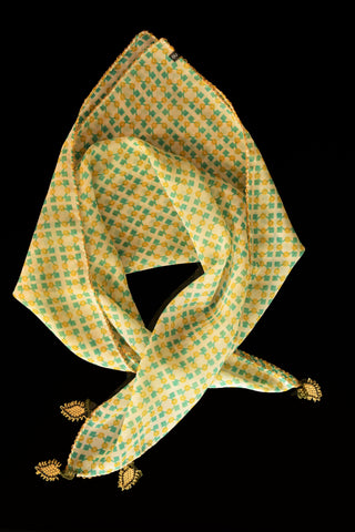 GiGi Collection Silk Neck Scarf  - Yellow & Green & Cream with Yellow & Green & Black lace