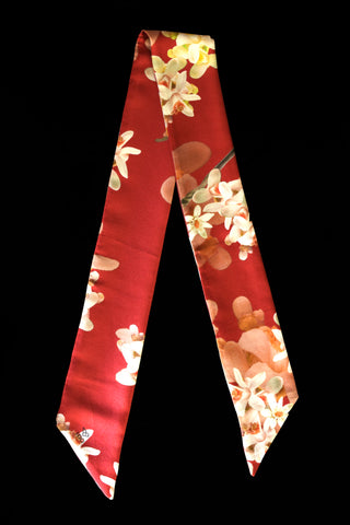 Handmade Silk Scarf  Twilly Collection Skinny