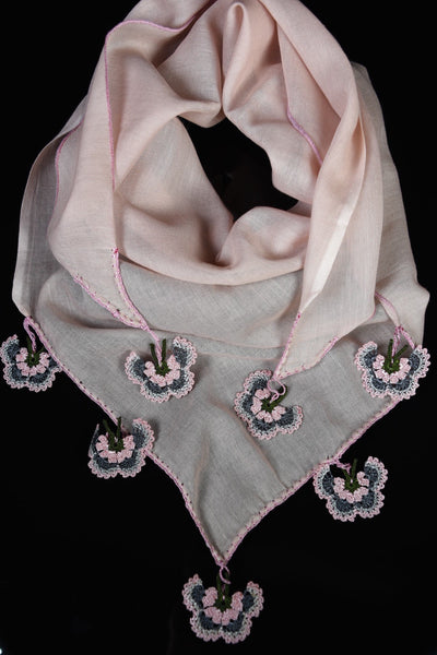 Bohemian - Millennial Pink with gray&pink butterfly medallions.