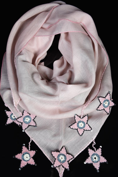 Bohemian - Millennial Pink with black&pink star medallions.