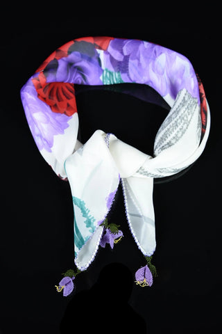 GiGi Collection silk w/ lace - neck scarf - white&purple