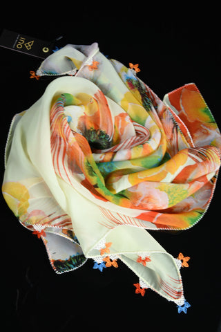 GiGi Collection silk scarf with lace - neck scarf