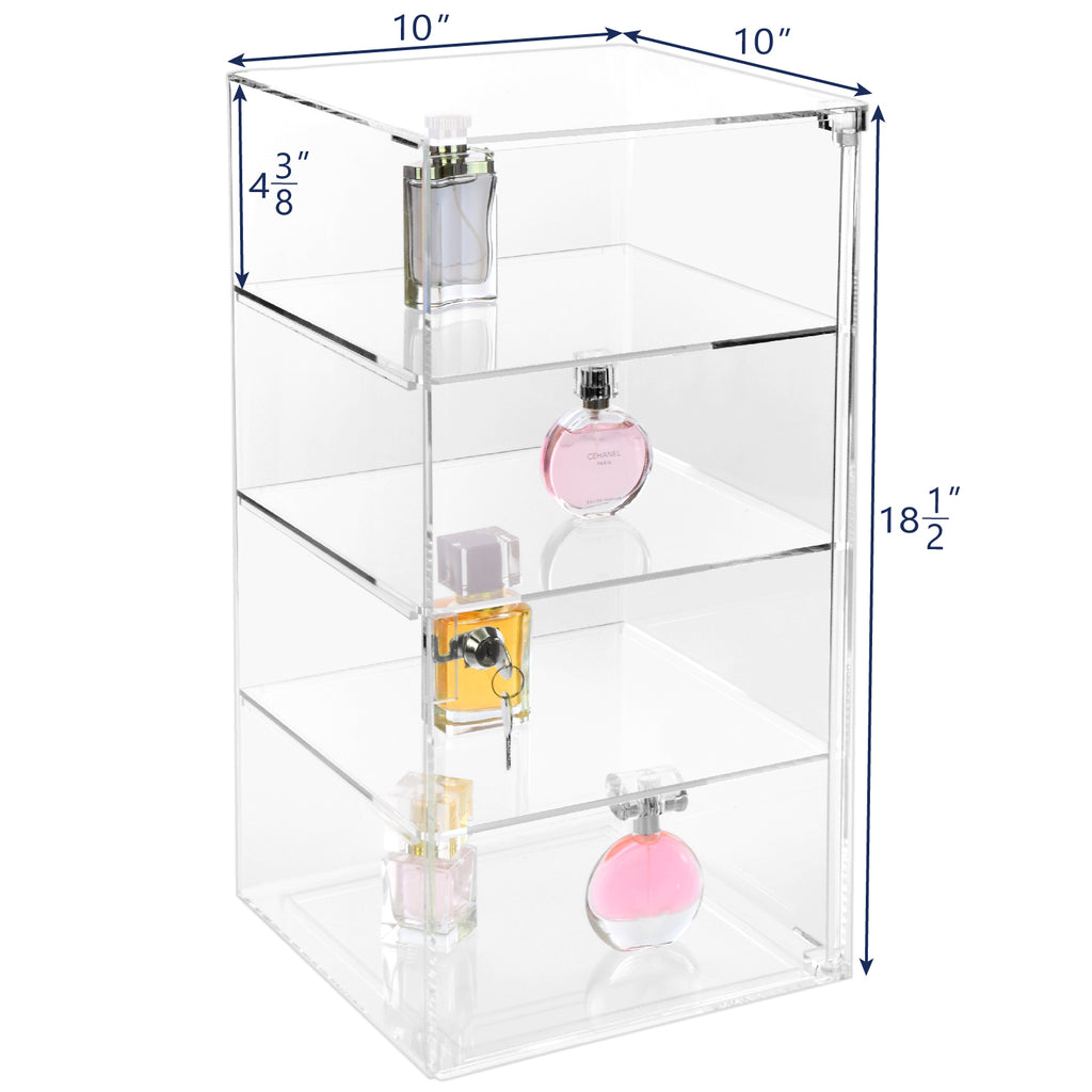 Ikee Design®Acrylic Lockable 4-Tiers Showcase Display Stand with 3 Removable Shelves